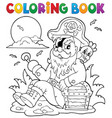coloring book with sitting pirate vector image vector image