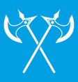 crossed battle axes icon white vector image vector image