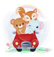 cute animal in watercolor vector image