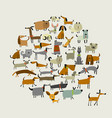 cute dogs collection sketch for your design vector image