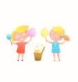 cute little girls eating cotton candy ice cream vector image