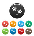 dog step icons set color vector image vector image