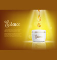 essence cream ad poster with shiny golden liquid vector image