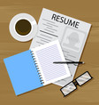 find work resume on table vector image vector image