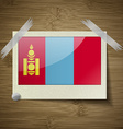 Flags Mongolia at frame on wooden texture vector image vector image