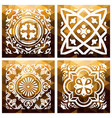 floral gold mosaic tile vintage triangle vector image vector image
