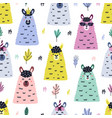 funny llama faces seamless pattern bright vector image