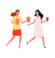 girlfriends meeting women with popcorn and drinks vector image vector image