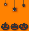 Halloween background with hanging spiders and vector image