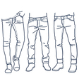 Hand drawn fashion Collection of mens jeans vector image vector image