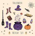hand drawn halloween of hat cauldron broom vector image