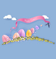 happy easter card paper cut art background vector image vector image