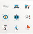 job icons flat style set with manager circle vector image vector image