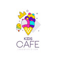 kids cafe logo design bright badge with ice cream vector image vector image