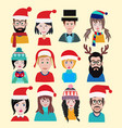 men and women winter warm knitted hats set for vector image vector image