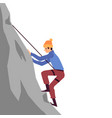 mountaineering - climber conquering a peak flat vector image