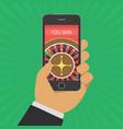 online casino on smartphone vector image vector image