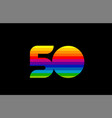 rainbow color colored colorful number 50 logo vector image vector image