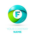 realistic letter f logo in colorful circle vector image vector image