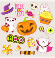set cute halloween icons in kawaii style vector image