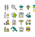 set linear bbq grill colored icons vector image vector image