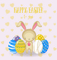 set of cute easter bunny easter eggs flowers vector image vector image