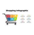 shopping puzzle cart infographic presentation 6 vector image