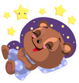 sleeping cartoon bear clipart with moon and vector image