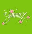 summer card on green background with flowers vector image vector image