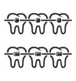 teeth braces icons set on white background vector image vector image