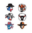 texas outlaw mascot collection vector image vector image
