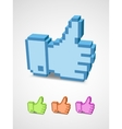 Thumb up icon of pixel art style vector image vector image