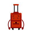 upset suitcase cartoon character with sad emotion vector image