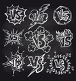versus signs set on chalkboard vector image vector image