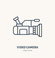 video camera flat line icon movie production vector image vector image