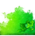 watercolor spot with green leaves vector image vector image