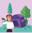 woman with smartphone takin selfie tent camping vector image vector image