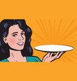 young beautiful woman with empty tray vector image vector image