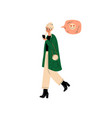 young blonde woman wearing fashion clothes vector image
