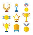 trophy icons flat set of medallion success award vector image