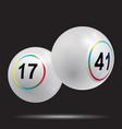3d white bingo lottery balls on black background vector image vector image