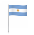 Argentina flag waving on a metallic pole vector image vector image