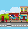 background scene with kids riding bike vector image vector image