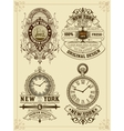 Baroque set of cards with engraving and floral vector image