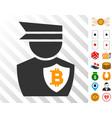 bitcoin police officer icon with bonus vector image vector image