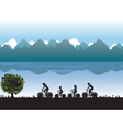 Black silhouettes of family on bicycles vector image vector image
