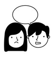 boy and girl sad emotion speech bubble vector image
