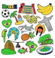 Brazil Travel Scrapbook Stickers Patches Badges vector image vector image