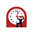 businessman trying to stop time holding minute vector image
