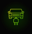 car with plug green line icon electric car vector image vector image